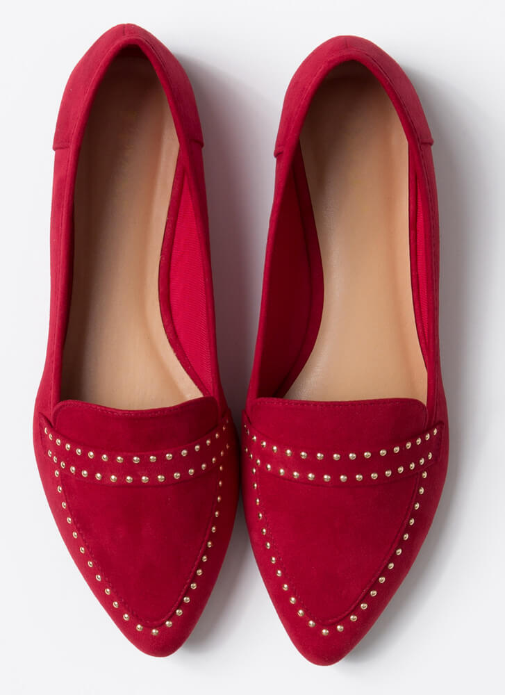 The Ground Up Studded Smoking Flats RED