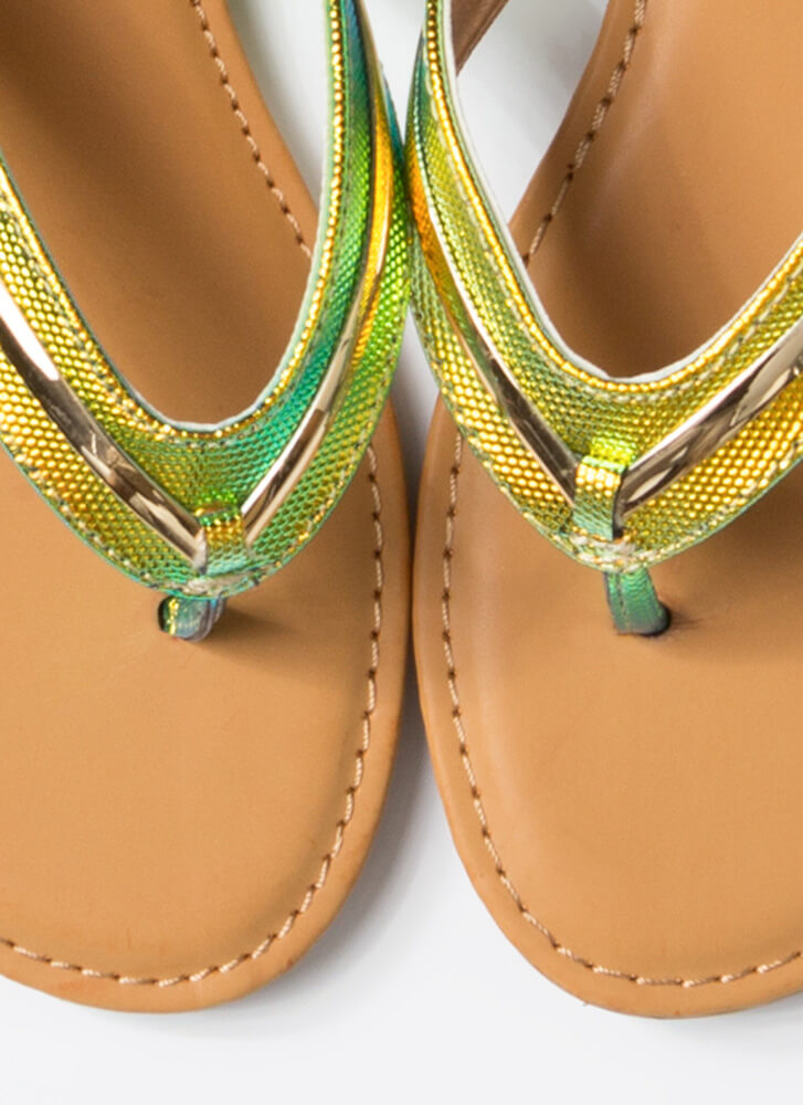 On Vacay Iridescent Thong Sandals MULTI