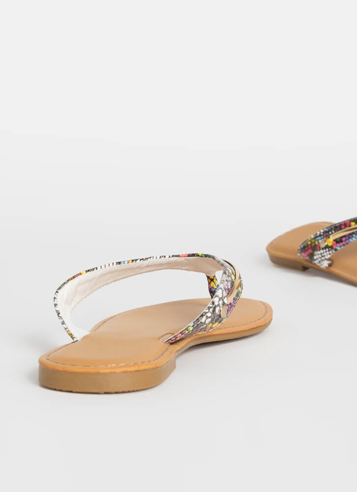 On Vacay Snake Print Thong Sandals MULTI