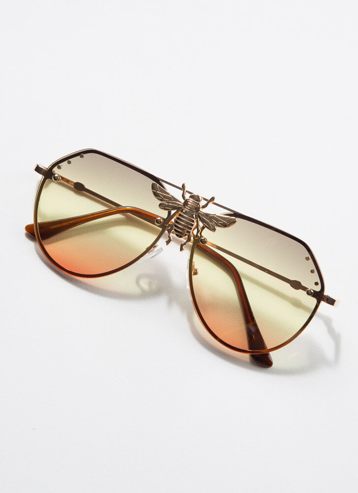 Bee All You Can Bee Aviator Sunglasses YELLOW