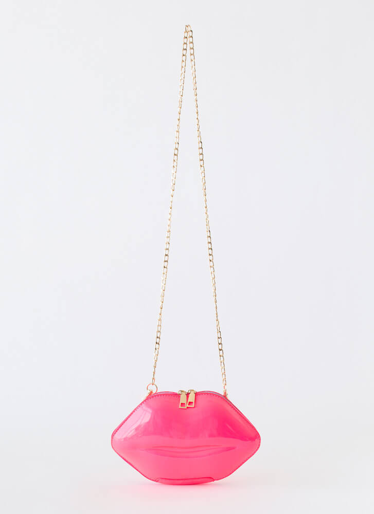 Shut Your Mouth Lip Box Clutch PINK