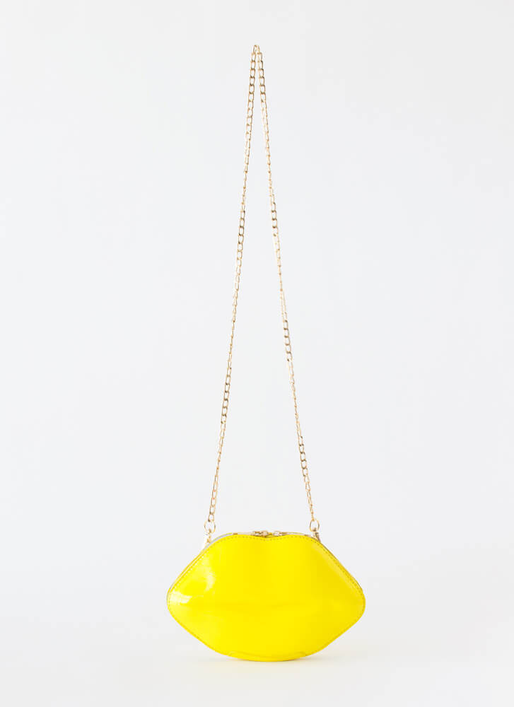 Shut Your Mouth Lip Box Clutch YELLOW