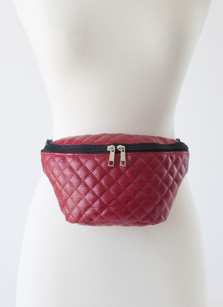 So Ready Quilted Faux Leather Fanny Pack RED