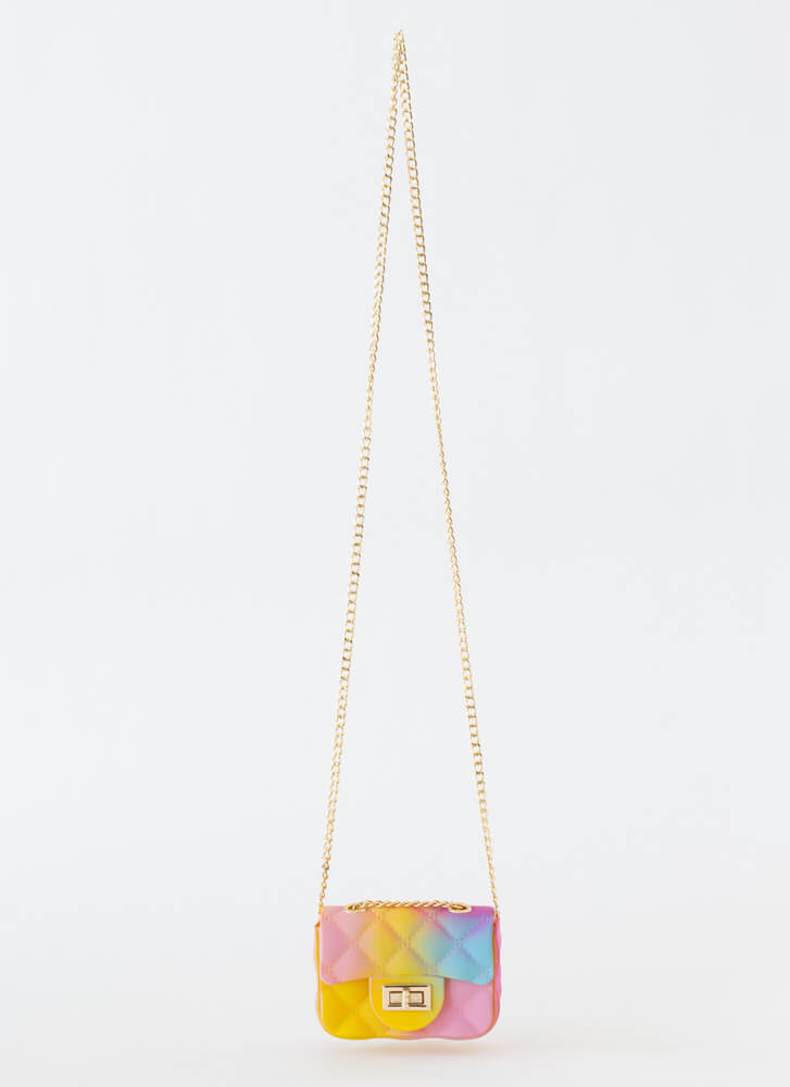 Spray My Name Faux Quilted Mini Purse MULTI