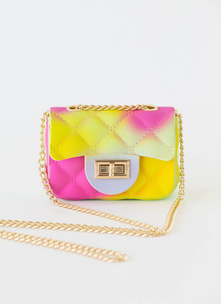 Spray The Word Faux Quilted Mini Purse MULTI