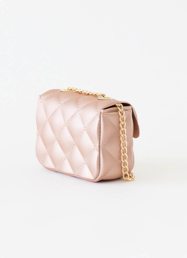 Mini Me Faux Quilted PVC Micro Purse ROSEGOLD
