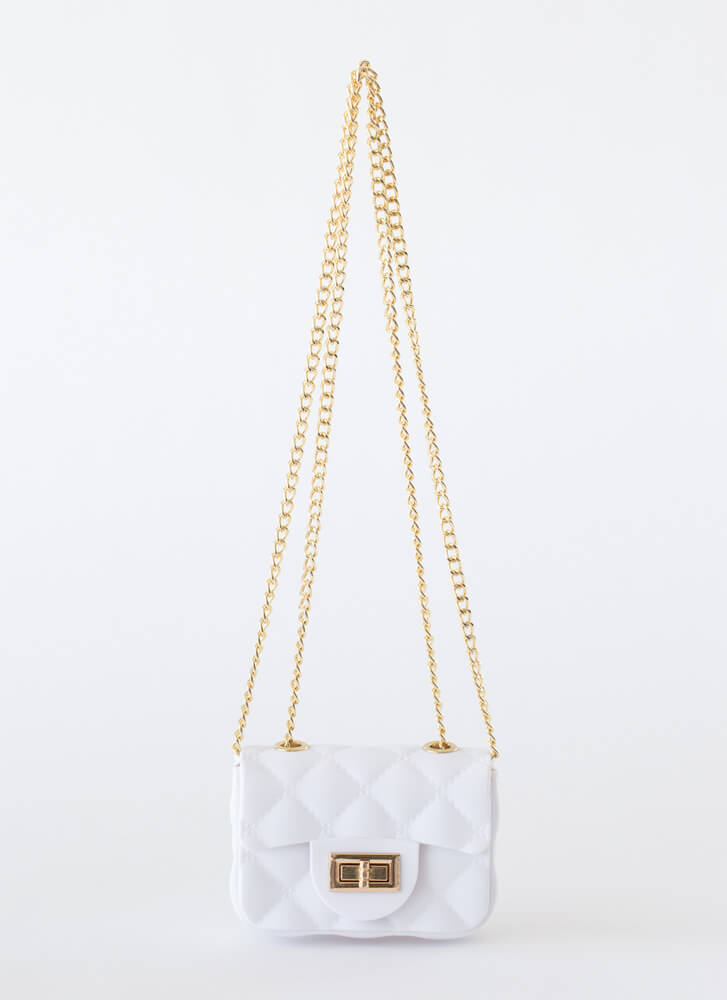 Mini Me Faux Quilted PVC Micro Purse WHITE