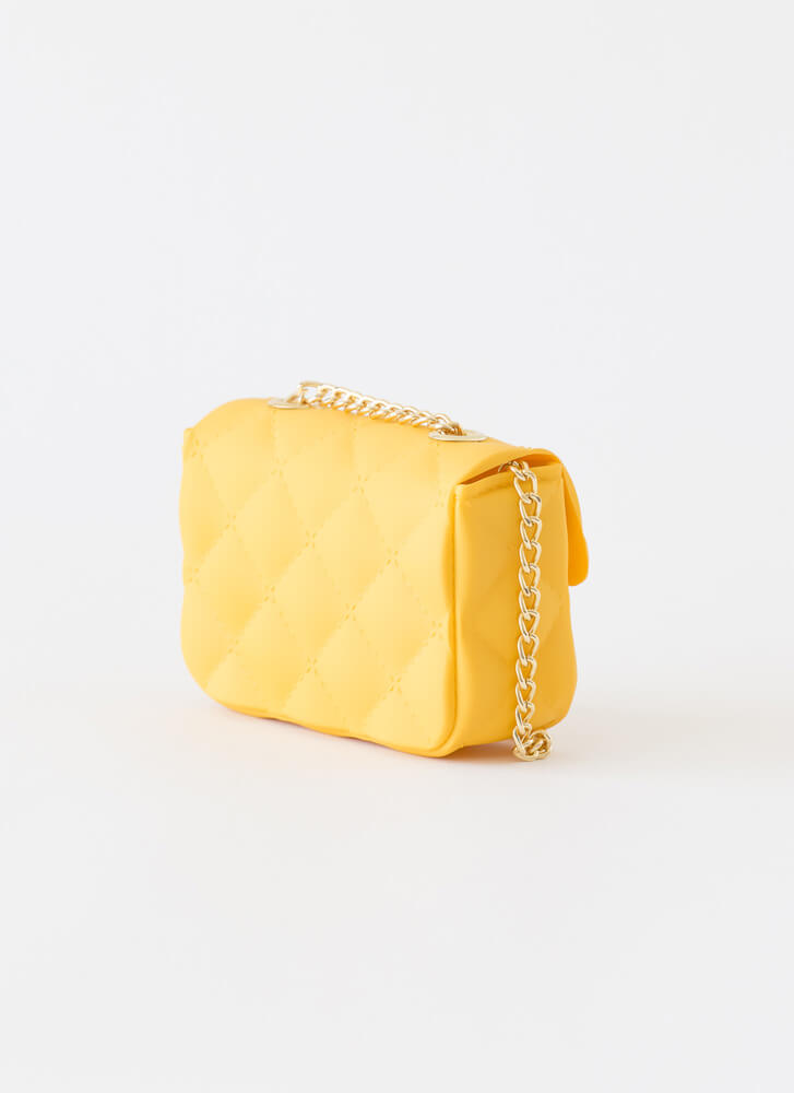 Mini Me Faux Quilted PVC Micro Purse YELLOW