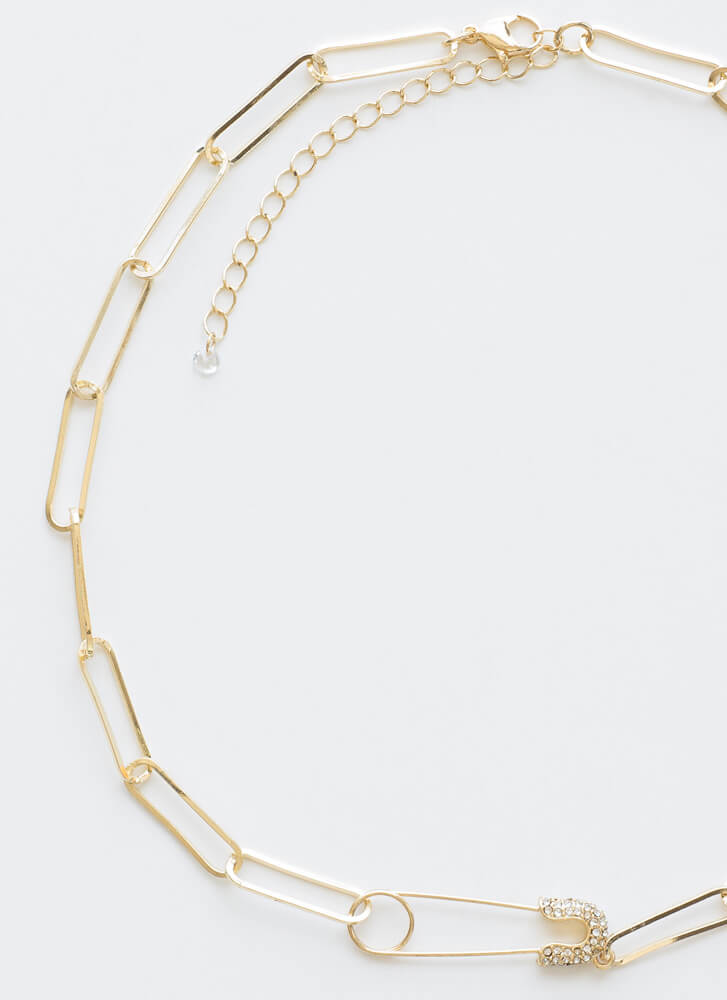 Safety Pin In Numbers Linked Necklace GOLD