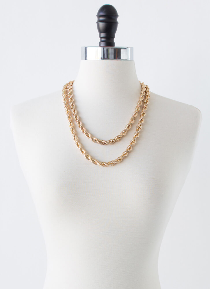Learn French Rope Chain Necklace Set GOLD