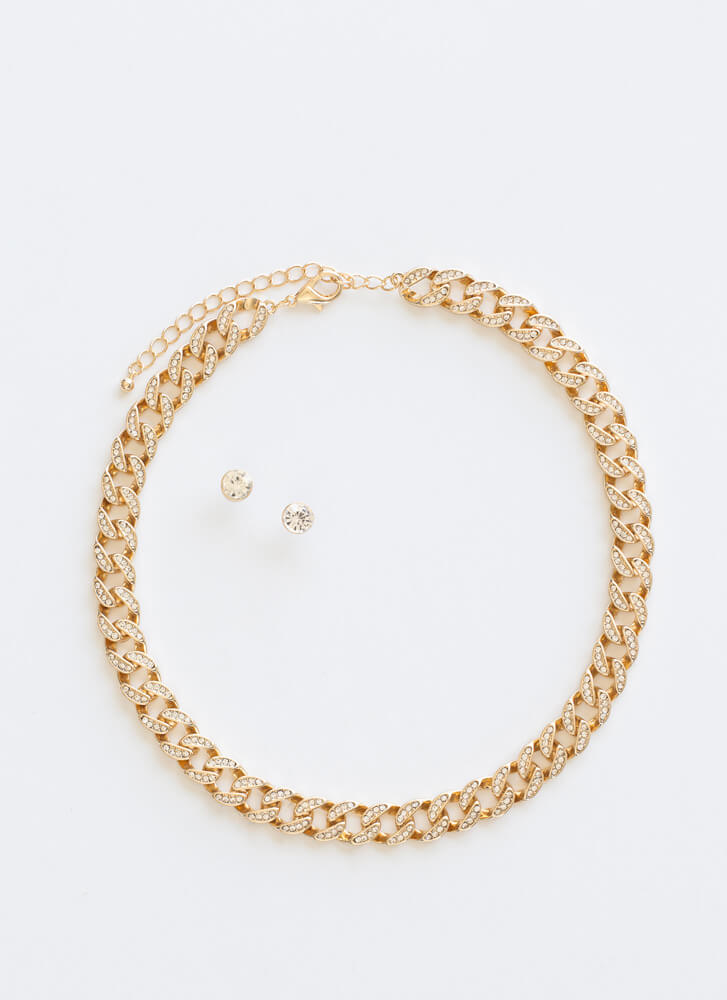 Let's Sparkle Jeweled Chain Necklace Set GOLD