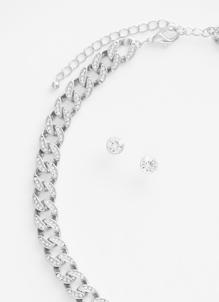 Let's Sparkle Jeweled Chain Necklace Set SILVER