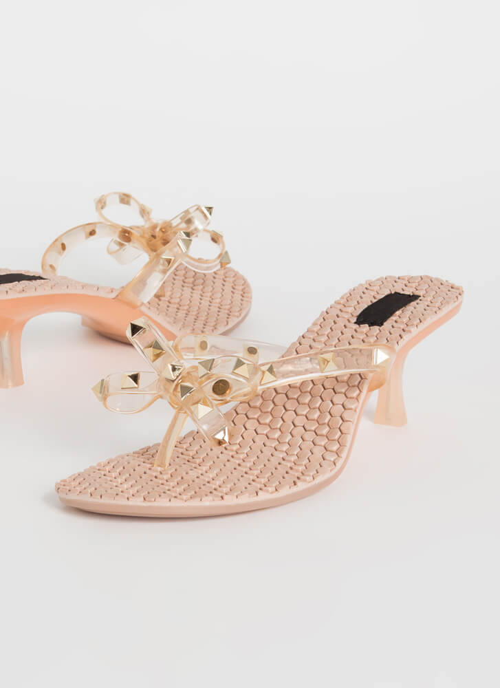 Hive A Nice Day Studded Bow Thong Heels NUDE