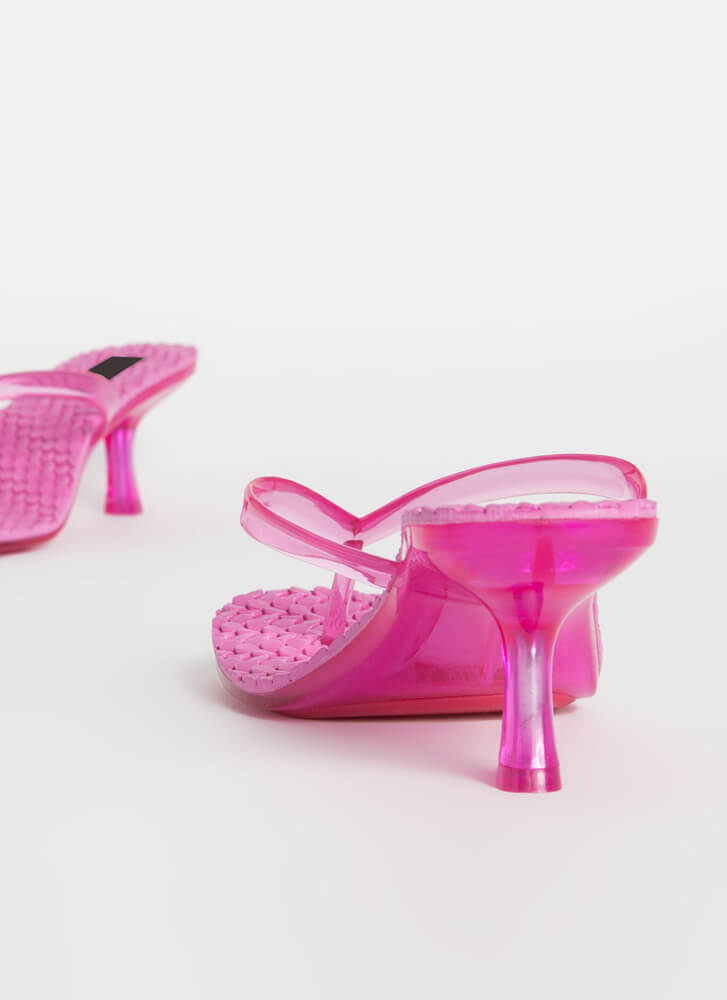 Hive A Nice Day Jelly Thong Heels HOTPINK
