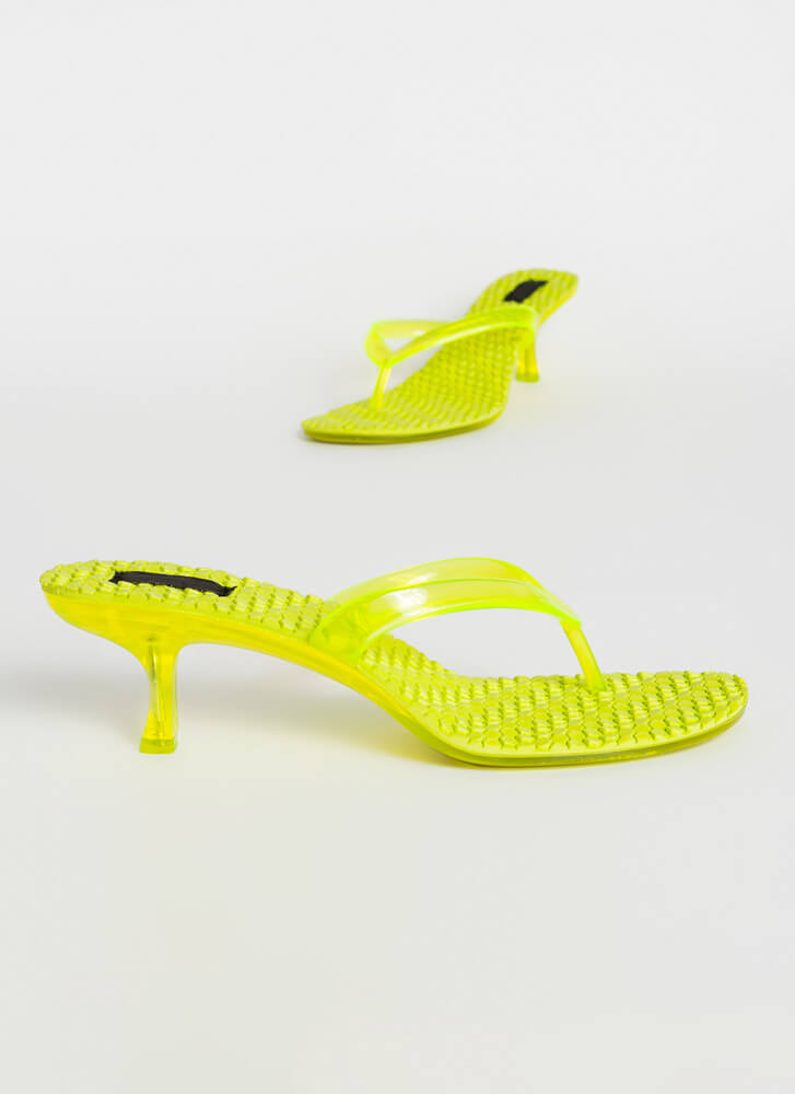 Hive A Nice Day Jelly Thong Heels NEONYELLOW