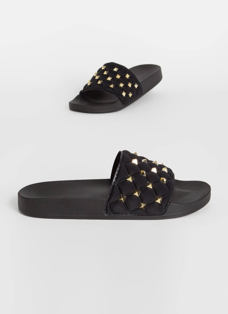 Stud Search Quilted Slide Sandals BLACK