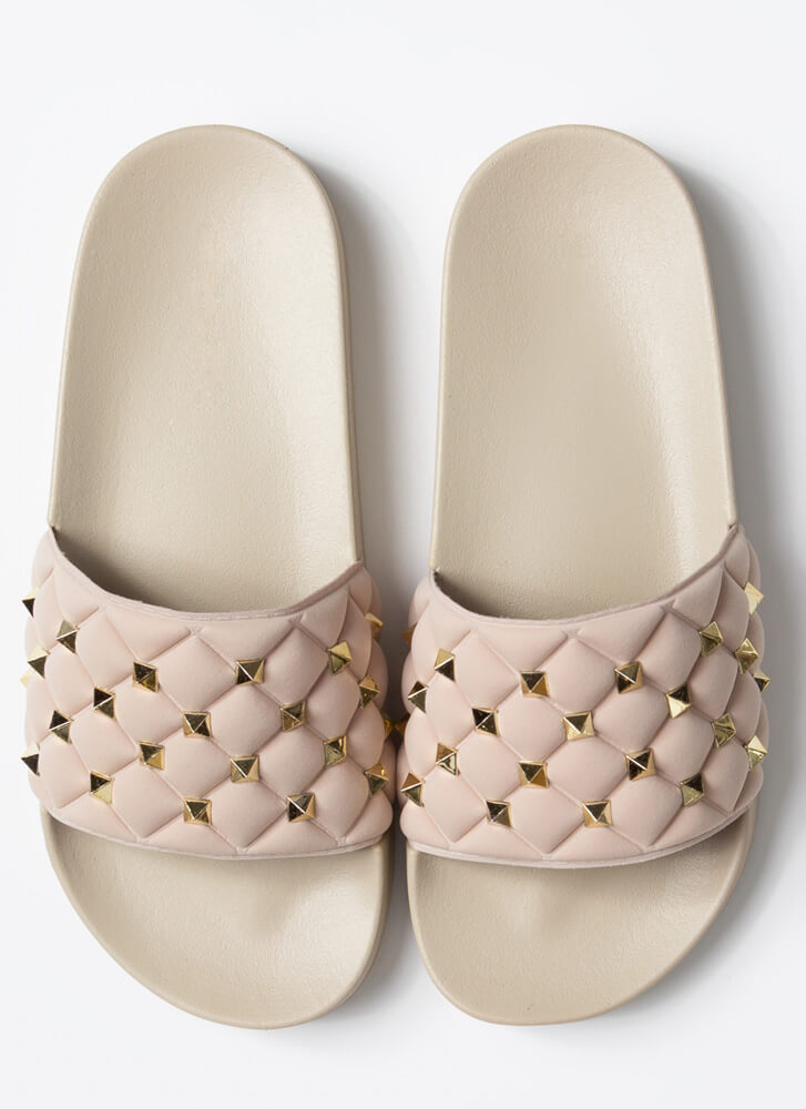 Stud Search Quilted Slide Sandals NUDE