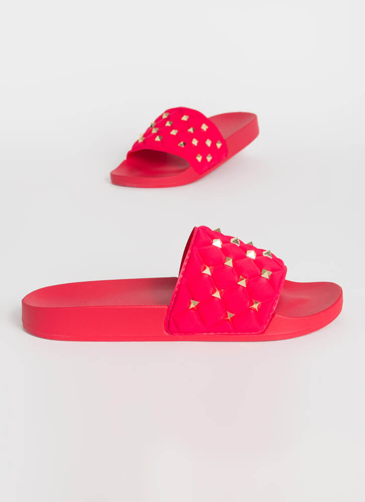 Stud Search Quilted Slide Sandals RED