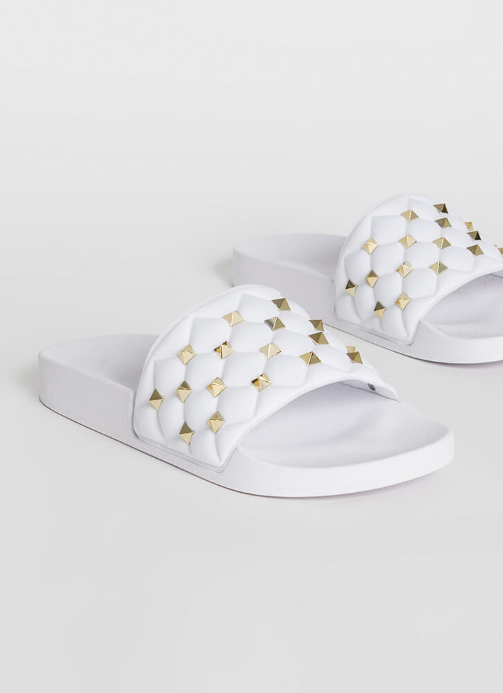 Stud Search Quilted Slide Sandals WHITE