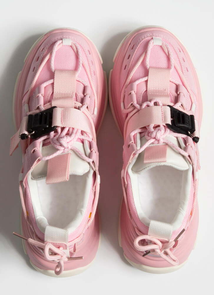 Tie Tie Again Strappy Sporty Sneakers PINK