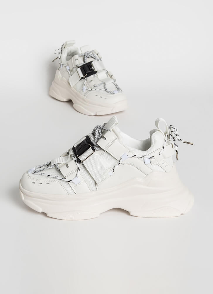 Tie Tie Again Strappy Sporty Sneakers WHITE