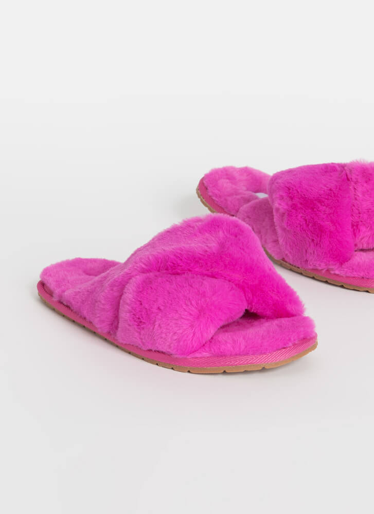 X-Tra Furry Faux Fur Slide Sandals PINK