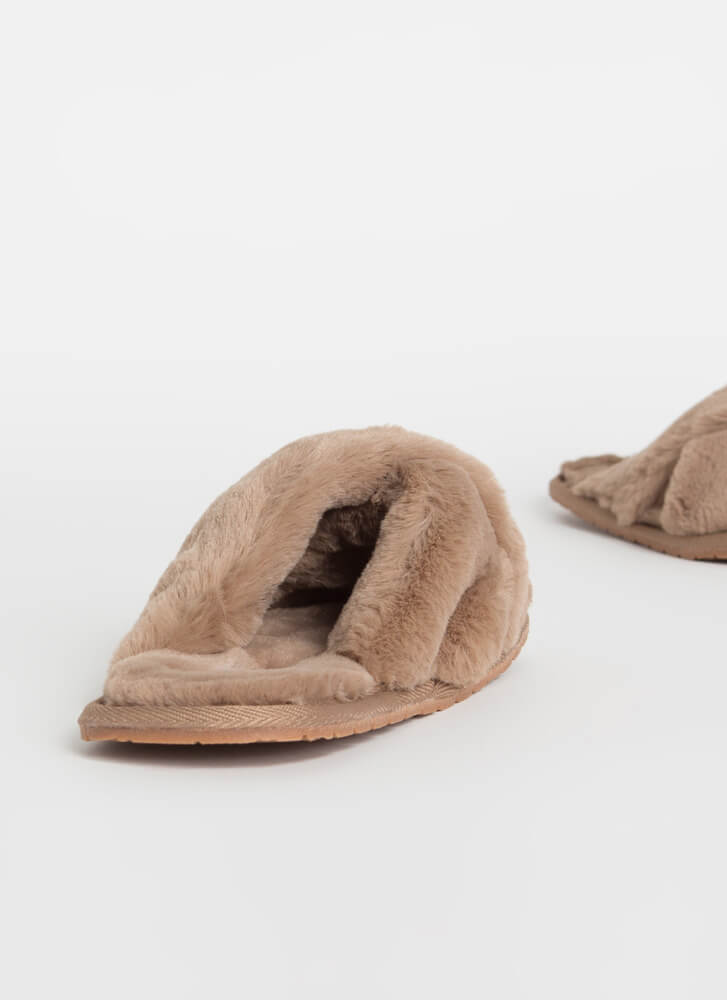 X-Tra Furry Faux Fur Slide Sandals TAUPE