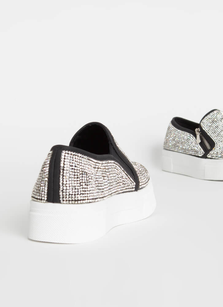 Flash Jeweled Zippered Platform Sneakers BLACK