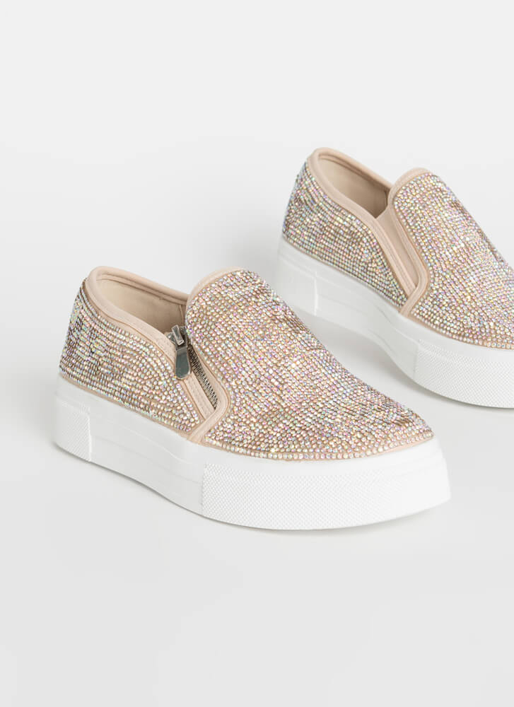 Flash Jeweled Zippered Platform Sneakers NUDE