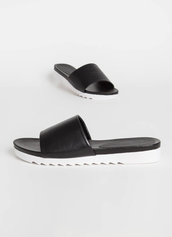 Afternoon Stroll Platform Slide Sandals BLACK