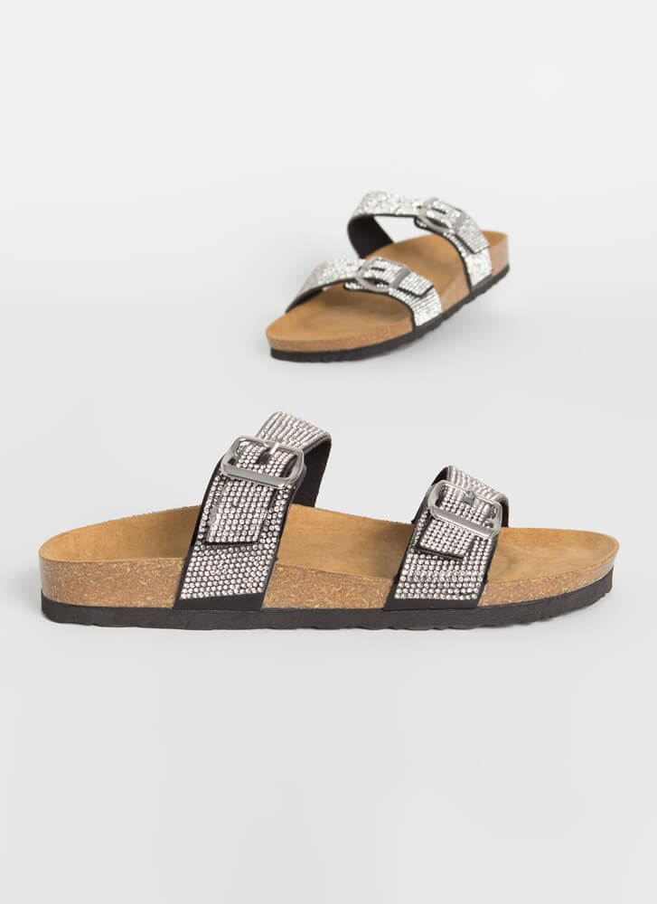 Day Gleam Jeweled Buckled Slide Sandals BLACK