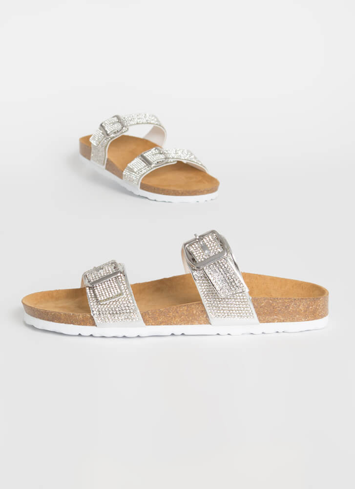 Day Gleam Jeweled Buckled Slide Sandals SILVER