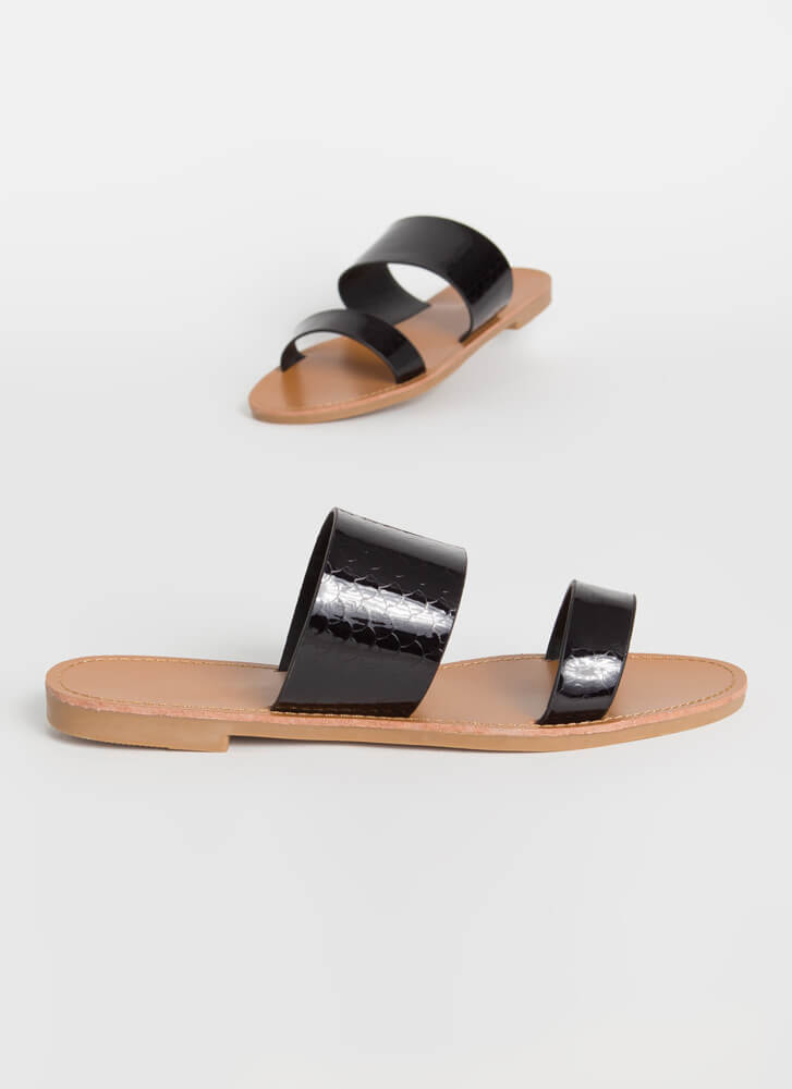 Fish Scale Out Of Water Slide Sandals BLACK