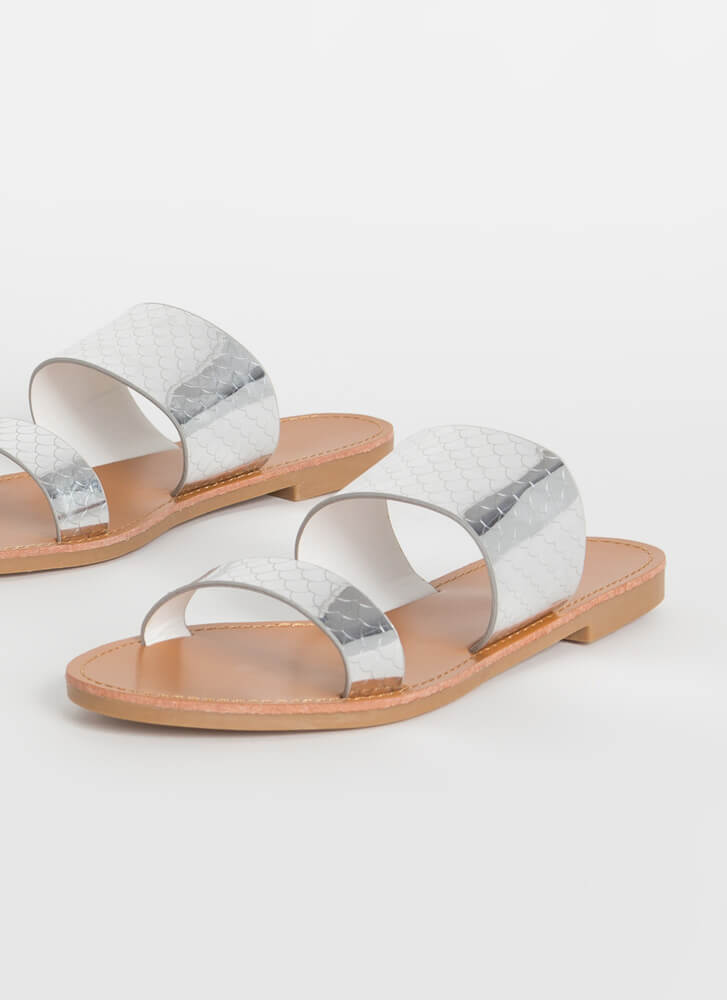 Fish Scale Out Of Water Slide Sandals SILVER