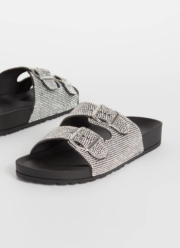 Jeweled Feet Buckled Slide Sandals BLACK