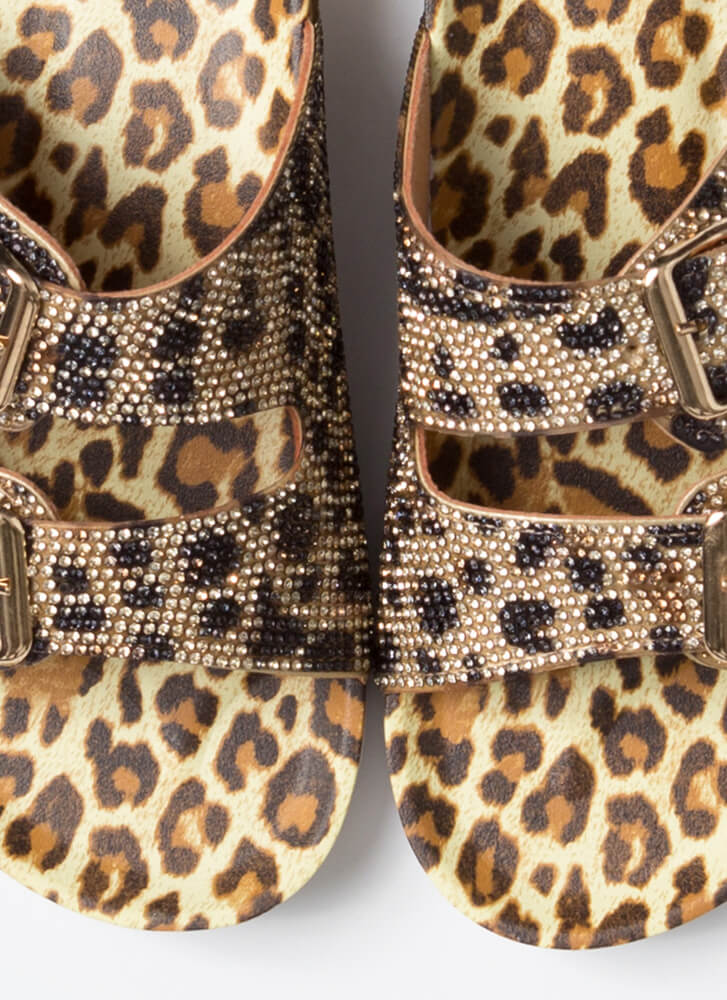 Jeweled Feet Buckled Slide Sandals LEOPARD