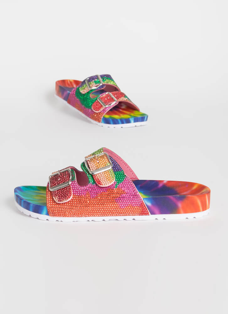 Jeweled Feet Buckled Slide Sandals RAINBOW