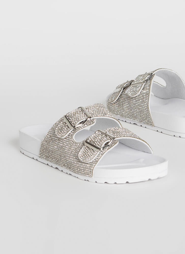 Jeweled Feet Buckled Slide Sandals WHITE