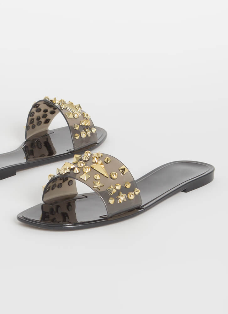 Shape Up Studded Jelly Slide Sandals BLACK