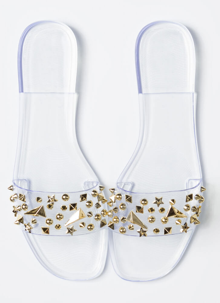 Shape Up Studded Jelly Slide Sandals CLEAR
