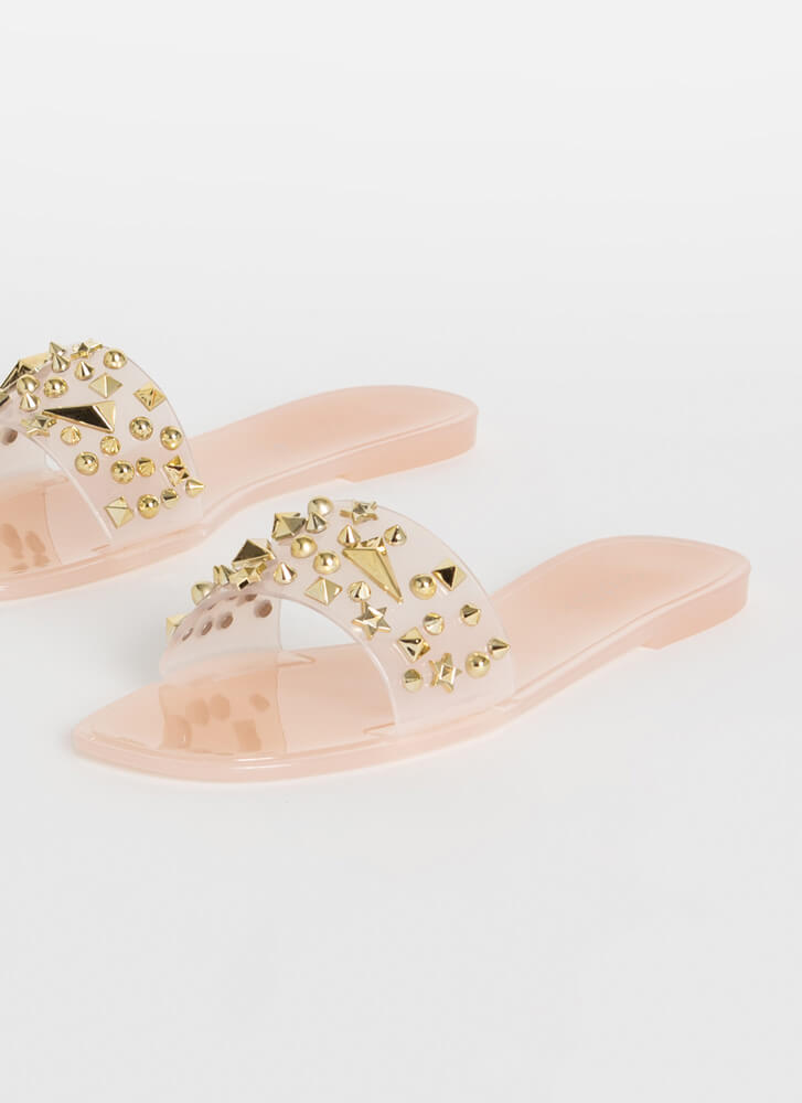 Shape Up Studded Jelly Slide Sandals NUDE