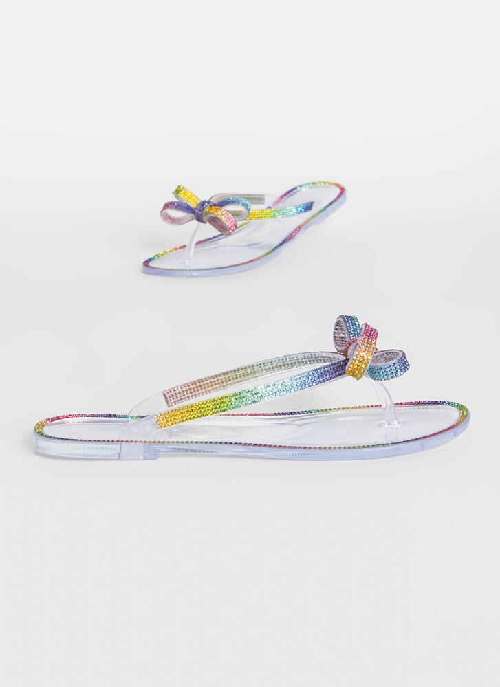 Bow In Rainbow Jewel Jelly Thong Sandals RAINBOW