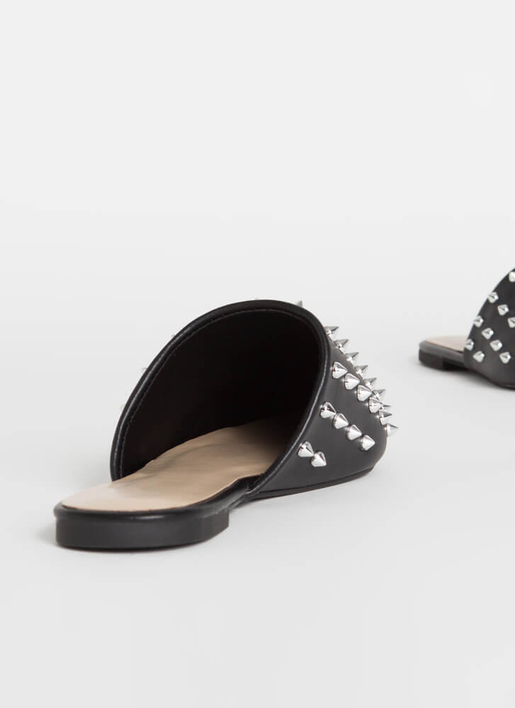 Edged Out Spiky Studded Mule Flats BLACK