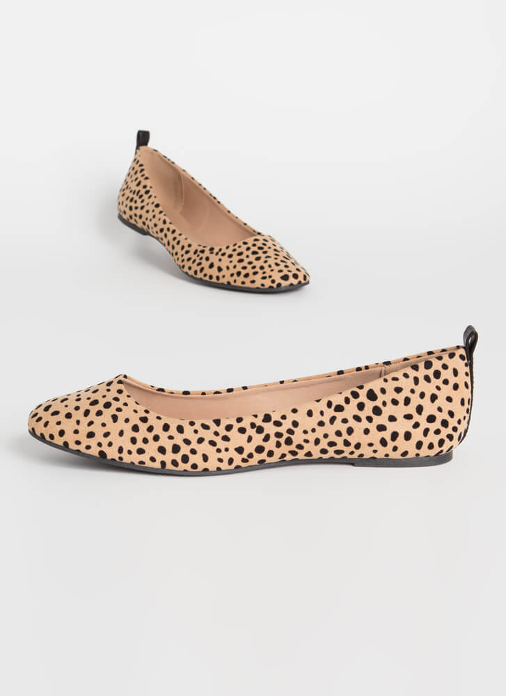 Stay Cute Spotted Cheetah Ballet Flats TANBLACK