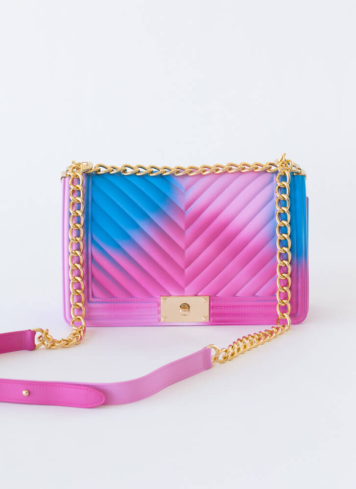 Airbrushed Spray Paint Chevron Purse MULTI