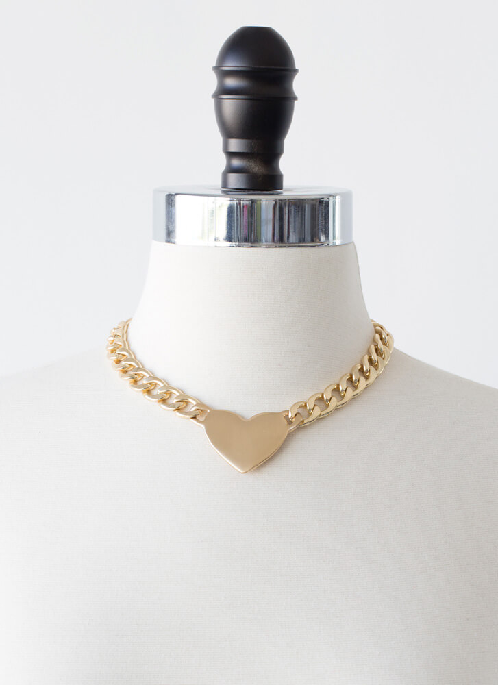 Heart Shaker Reversible Chain Choker GOLD