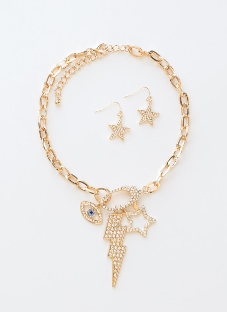 Flash Mix And Match Jeweled Necklace Set GOLDCLEAR