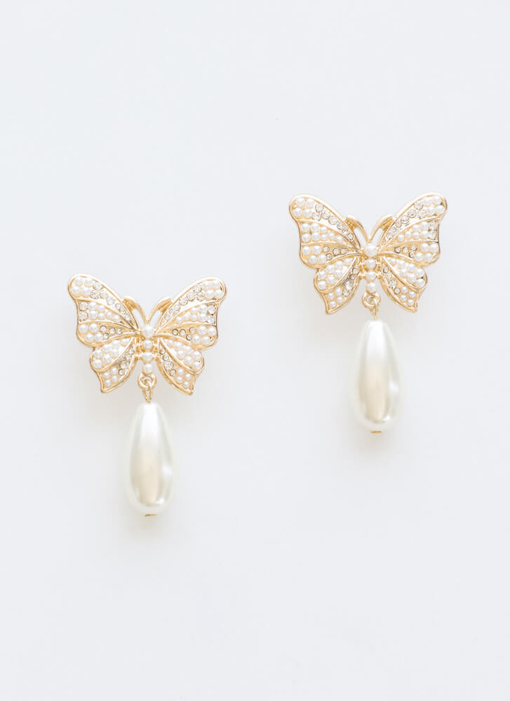 Drop In Faux Pearl Butterfly Earrings GOLD
