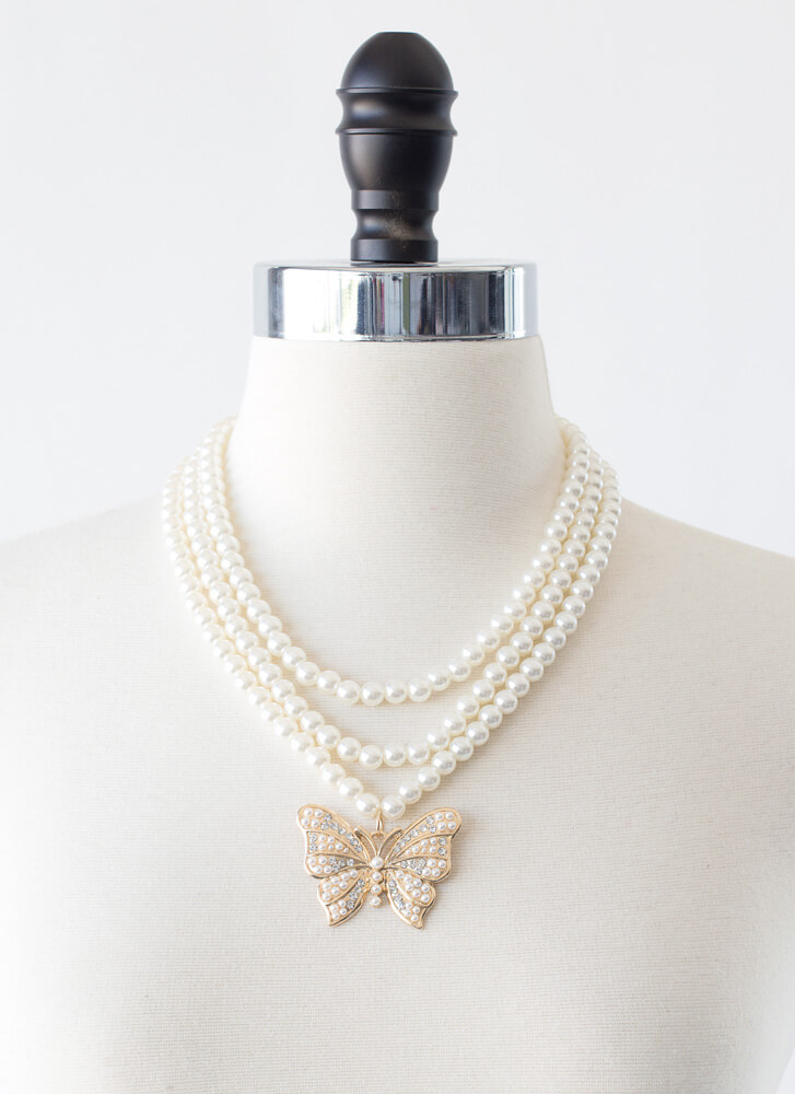 Butterfly Lady Faux Pearl Necklace Set GOLD