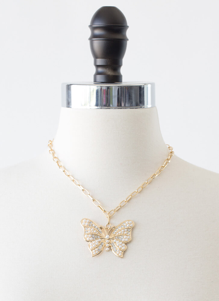 Butterfly Girl Faux Pearl Necklace Set GOLD